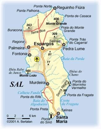Карта острова Сол, Кабо-Верде