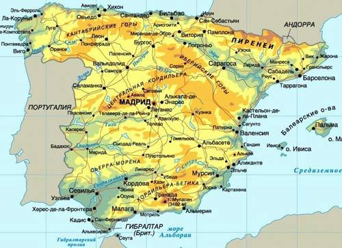 Карта Испании, недвижимость Испании