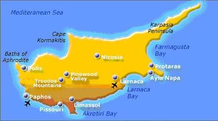 Карта Кипра, недвижимость на Кипре, недвижимость за рубежом