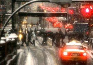 снегопад в Нью Йорке