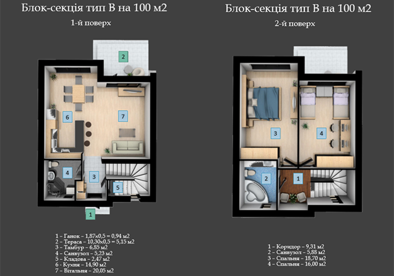 таунхаус 100 м2 в Таунхаусе Stone House Bortnichi