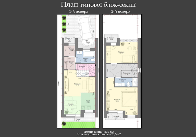 таунхаус 80,3 м2 в Таунхаусе Stone House Bortnichi